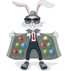 Funny rabbit with contraband easter eggs cartoon vector