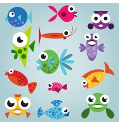 Cartoon sea fish set vector