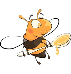 A bee with a honey spoon cartoon vector