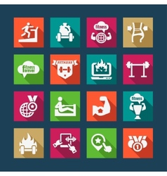 Flat business success icons set vector