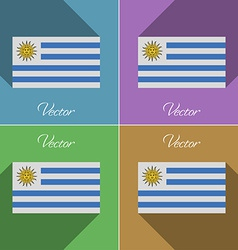 Flags uruguay set of colors flat design and long vector