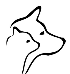 Cat and dog silhouettes vector