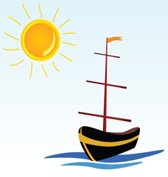 Boat on the sea icon vector
