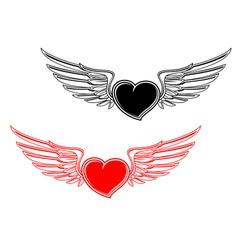 Retro heart tattoo vector