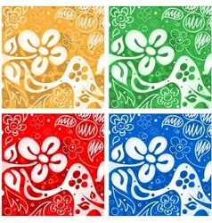Four flowers backgrounds vector