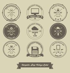 Computer shop vintage label vector
