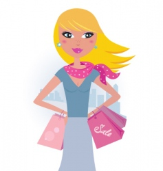 Blond shopper girl with bags vector