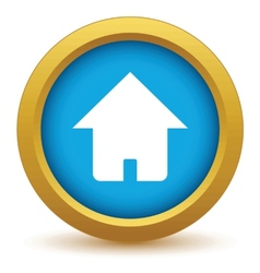 Gold home icon vector