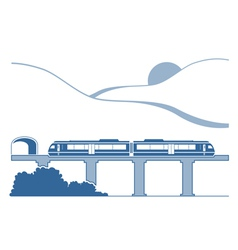 Silhouette of monorail in the mountains vector