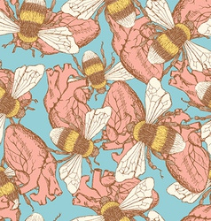 Sketch bee and heart in vintage style vector