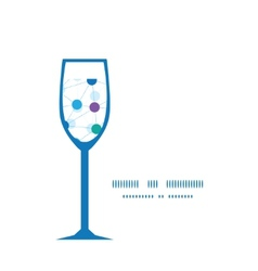 Connected dots wine glass silhouette pattern frame vector