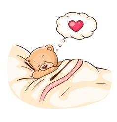 Teddy bear sleeps vector