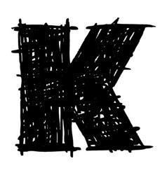 K - hand drawn character sketch font vector