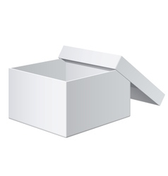 Cool realistic white blank package box opened for vector