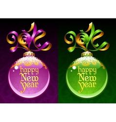 Christmas and new year circle frame ribbon vector