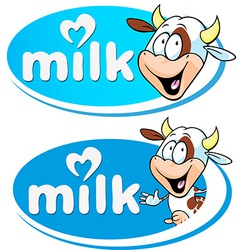 Blue milk logo with cow vector