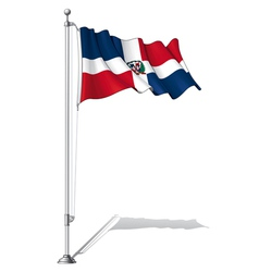 Flag pole dominican republic vector