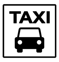Black and white taxi sign vector