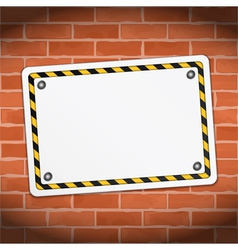 Blank banner on brick wall vector