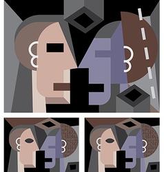 Cubism art portrait vector