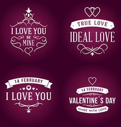 Set of valentines day typography badge stamp and vector