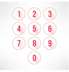 Numbers in circles set in modern flat design vector