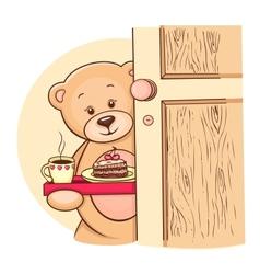 Teddy bear with breakfast vector