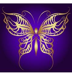 Golden butterfly on violet vector