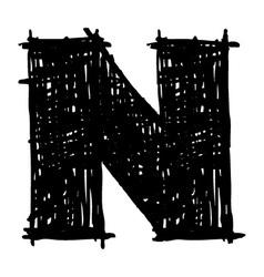 N - hand drawn character sketch font vector