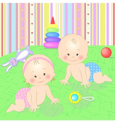 Babies with toys vector