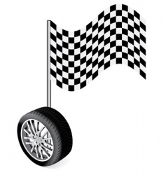 Wheel with racing flag vector