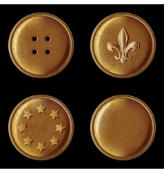 Set of vintage bronze buttons vector
