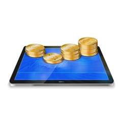 Tablet pc with golden coin vector