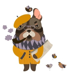 Serious grandpa dog with a newspaper and smoking vector