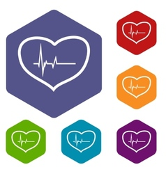 Heartbeat rhombus icons vector