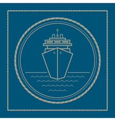 Marine emblem with cruise ship vector