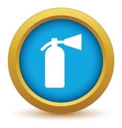 Gold fire extinguisher icon vector