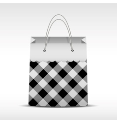 Vintage shopping bag in check texture vector