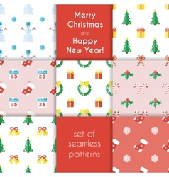 Set of christmas seamless backgrounds in flat vector