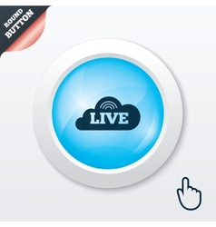 Live sign icon on air stream symbol vector