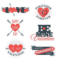 Set of st valentines day and typography el vector