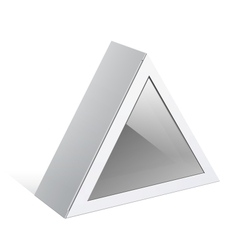 Realistic white package triangular shape box for vector