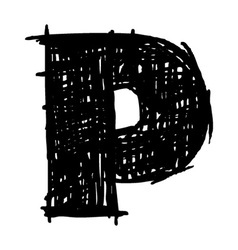 P - hand drawn character sketch font vector
