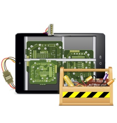 Tablet pc with toolbox vector