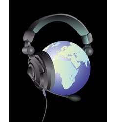 Globe headphones vector