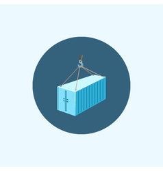 Icon with colored container with crane vector