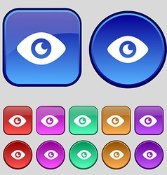 Eye publish content icon sign a set of twelve vector