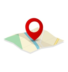Map icon with pin pointer vector
