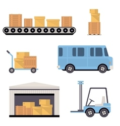 Warehouse icons flat vector