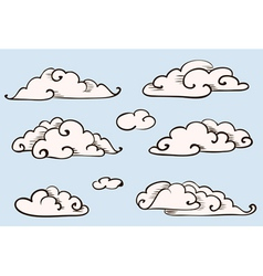 Clouds set vintage stylized drawing vector